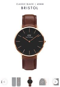 Daniel Wellington Men's Watch - Classic Black Bristol. Rose color case and dark brown leather strap. Brand new with tag. Washington, 20009