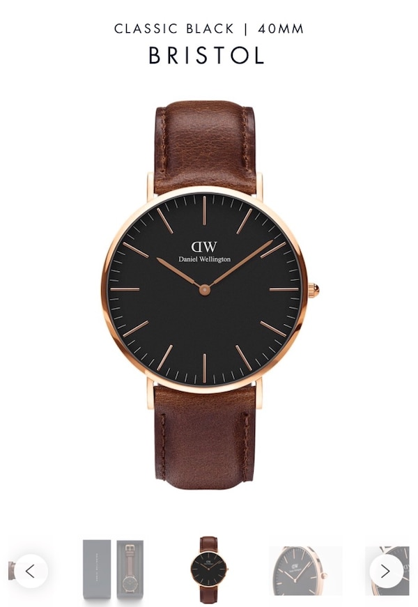 Daniel Wellington Men's Watch - Classic Black Bristol. Rose color case and dark brown leather strap. Brand new with tag. f6d30bd2-18e8-4ff4-9449-04cf513d1fc9
