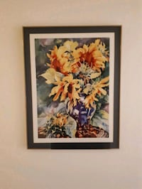 Sunflower print with glass picture frame St. Catharines