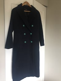 women's black double-breasted coat 3781 km