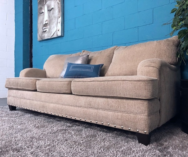 Strange Tan Fabric Sofa W Silver Nailhead Studs Free Delivery Alphanode Cool Chair Designs And Ideas Alphanodeonline