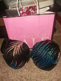 blue and black Victoria's Secret bra