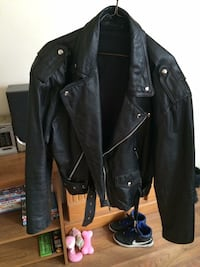 Black leather zip up jacket