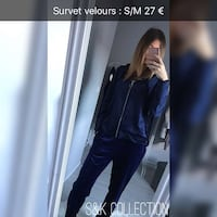 Ensemble bleu velours