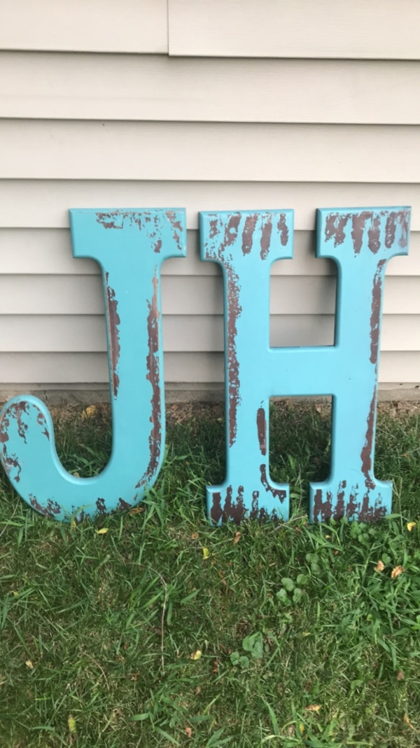 Over sized letters J & H artwork decorations