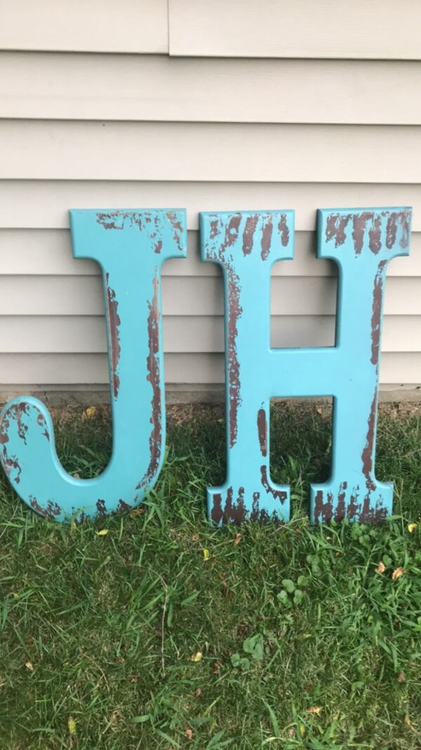 Over sized letters J & H artwork decorations  c33edc5b-cdc7-45b9-a2fb-47fb74813cce