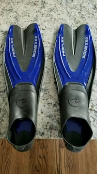 pair of black-and-blue flippers