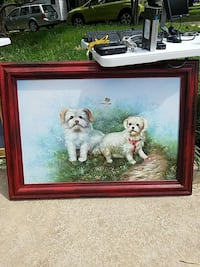 two white Maltese painting with wooden frame 43x31