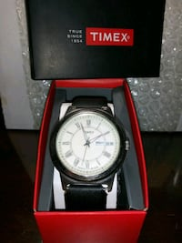round silver analog watch with black leather strap in box Aspen Hill, 20906