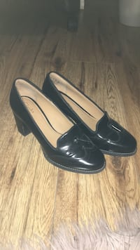 Black Clarks Wingtip Dress Heels