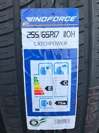 255/65/17 new tires Windforce set of 4 for $300.00 a set no mounted no balance no machine or sale by piece for $80.00 each tire no mounted no balance no machine.  1152 mi