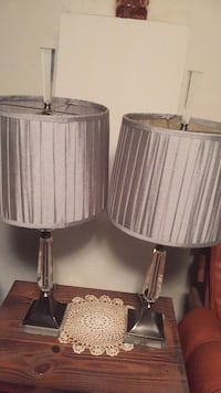 two gray-and-white table lamps Plainfield, 07060
