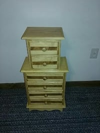 brown wooden 2-drawer chest and 4-drawer chest