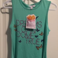 teal Dreams can Come true print tank top girls
