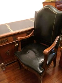 Vintage French Leather top Executive desk and chai Washington, 20011