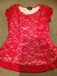 red and white floral scoop-neck shirt Lafayette