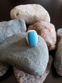 925 Sterling Silver Turquoise Ring - Size 7.5!