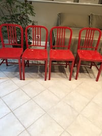 4 Red Metal chairs and 2 Matching stools 594 mi