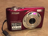 14mp red nikon coolpix digital camera