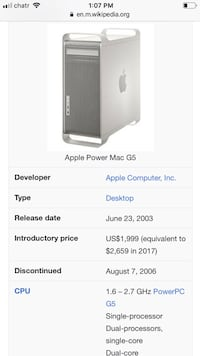 Apple Mac g5 Winnipeg, R2L 1Y3