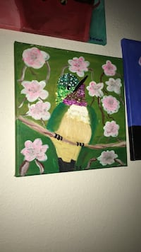 pink and green bird painting