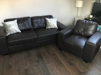 Leather sofa couch and chair for sale****