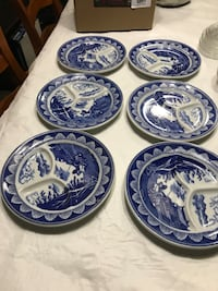 Vintage 3-sectional Blue Japanese plates, set of 6 ; looking for the best offer  Hamilton, L9A 1T3