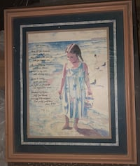 woman in white dress painting with brown wooden frame Center Moriches, 11934