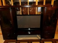 Solid wooden TV hutch with fireplace insert 615 km