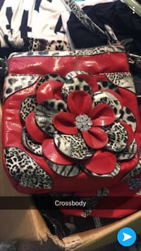 red and white floral bag 1409 mi