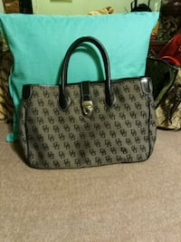 black and gray Dooney & Bourke leather tote bag