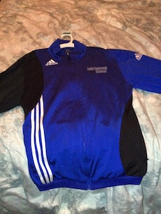 blue, black and white Adidas full zip jacket