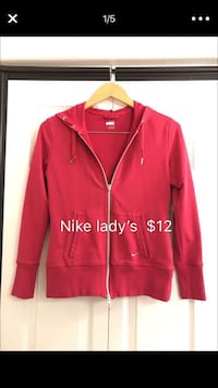 Nike lady's rose red size M jacket hoodie top outwear
