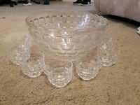 Ornate glass punch bowl and cups 8 pieces  Bakersfield, 93312