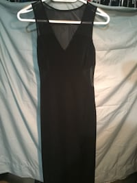 Long holiday black dress/split leg/mesh neck,sides and full black  TORONTO