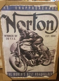 VINTAGE NORTON MOTORCYCLE CANVAS ART
