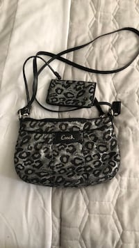 black and gray Coach monogram hobo bag Lancaster, 93536