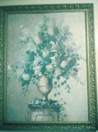 white lilies and roses in brown vase painting and brown frame Elizabeth, 07201