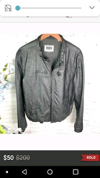 Levi's Black Mens Leather Motorcycle Jacket, L
