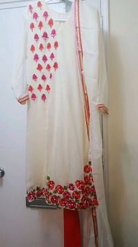 white and red floral long-sleeved dress Toronto, M4H 1J3