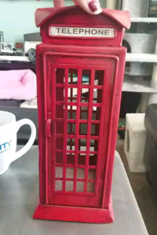 Red telephone booth home decoration