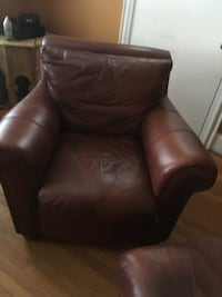 Brown leather sofa chair with ottoman Baltimore