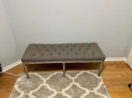 Modern rectangular bench with upholstered seat
