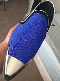 Blue and black suede dress shoes