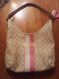 white and brown monogrammed Coach leather hobo bag Clifton, 07013