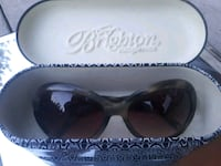 white framed sunglasses with case 3497 km