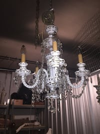 Bohemian hand painted glass chandelier with crystals  Toronto, M2R 3N1
