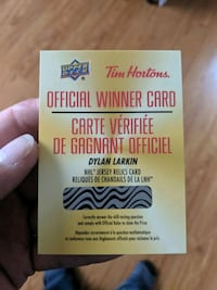 RARE Dylan Larkin Tim Hortons NHL Jersey relics redeemable winner card London, N5W 0A6