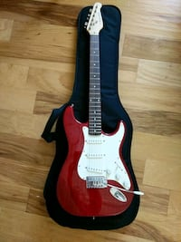 red and white stratocaster electric guitar Ames, 50010