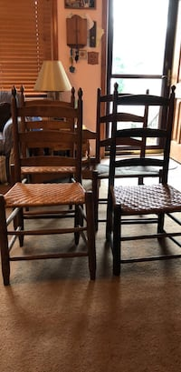 two brown wooden ladder back chairs College Park, 20740